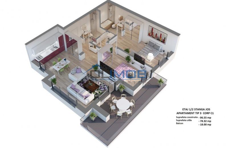 3 camere apartament Voluntari Millo Residence