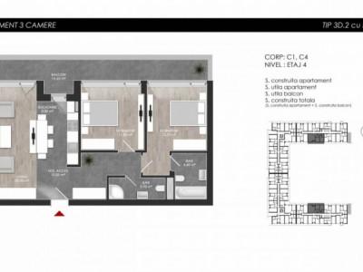 Apartament cu 3 camere tip 3D2 balcon - Atria Urban Resort