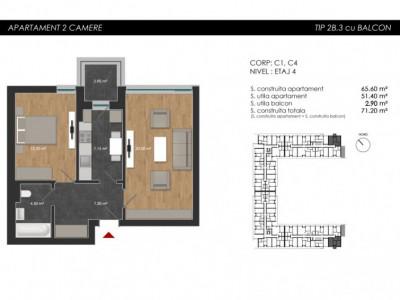 Apartament cu 2 camere tip 2B3 Balcon - Atria Urban Resort