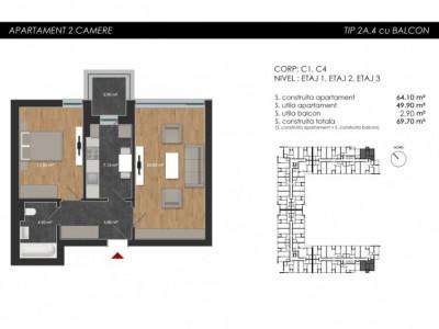 Apartament cu 2 camere tip 2A4 Balcon - Atria Urban Resort