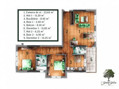 Apartament 3 camere decomandat Green Grove Residence - Comision Zero