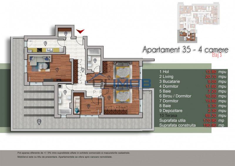 Natrom  apartament 4 camere Pipera OMV Cubic
